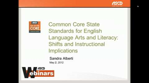 Ascd Webinars Sandra Alberti Ccss For Elaliteracy And Mathematics