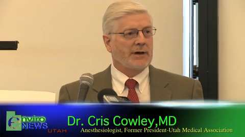 Dr Cris Cowley, MD and Former President of the Utah Medical Association, Lectures on How Air Pollution Causes Heart Attacks and Strokes at the Rio Tinto/Kennecott Lawsuit Press Conference