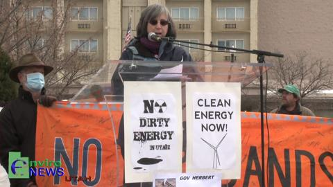 Joan Gregory, Chairwoman of Peaceful Uprising Detests Dirty Tar Sands Development at the Clean Energy Now Rally in Salt Lake City
