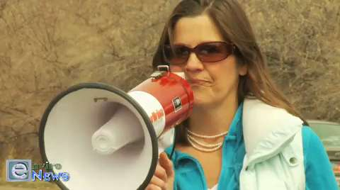 Cherise Udell, Founder of Utah Mom's for Clean Air Rips Kennecott in Front of Their Facility on Fossil Fools Day
