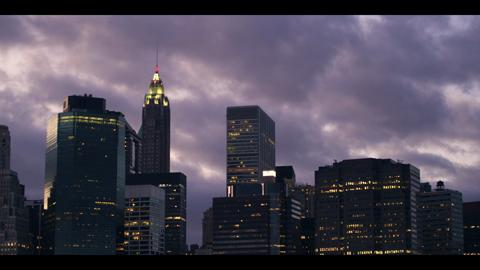 New York City Skyline Silhouette And Dark Clouds Timelapse 2