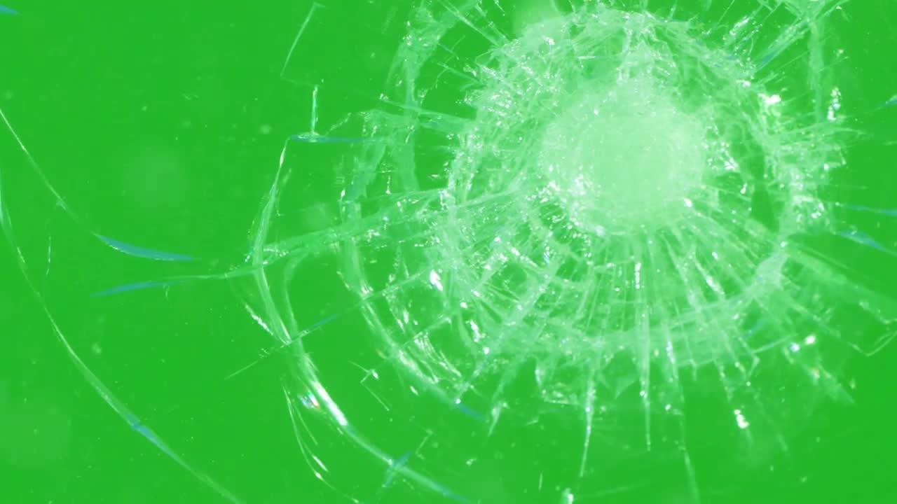 Windshield Glass Smashed On Green