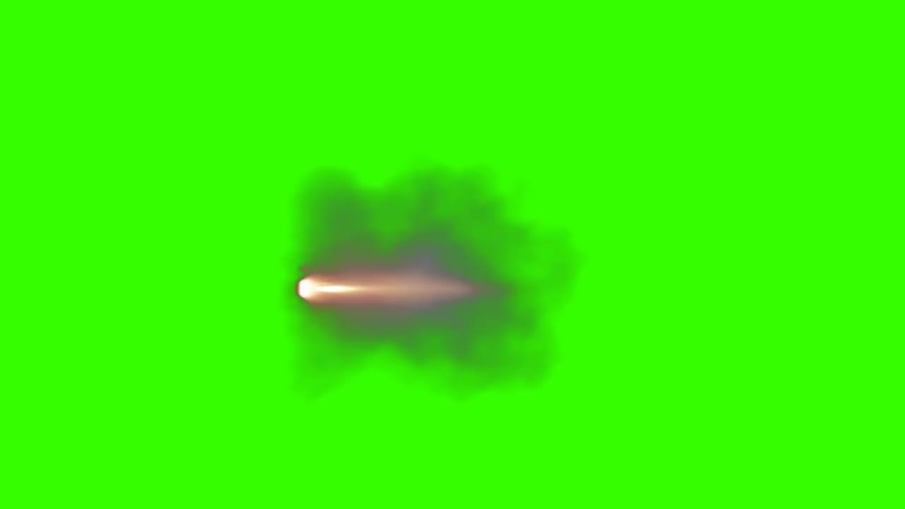 Maching Gun Muzzle Flash On Green