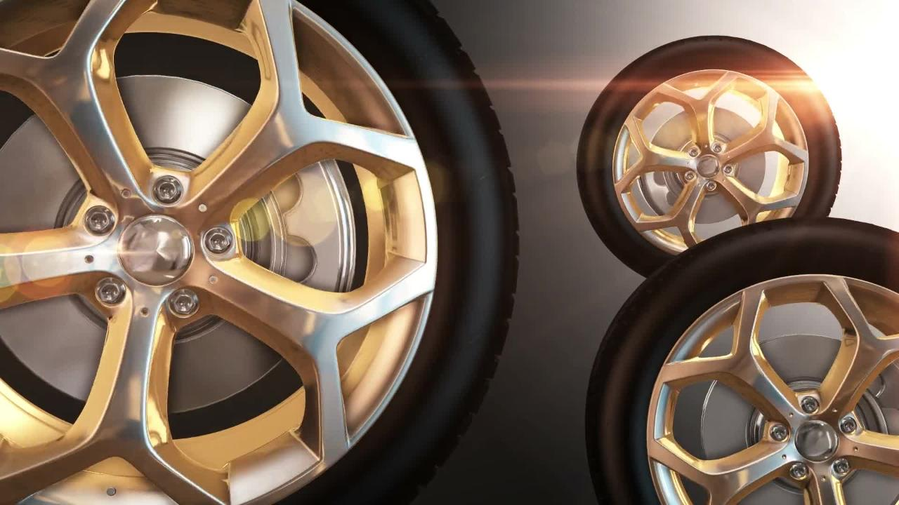 Car Wheels Golden Tires Rotation Motion