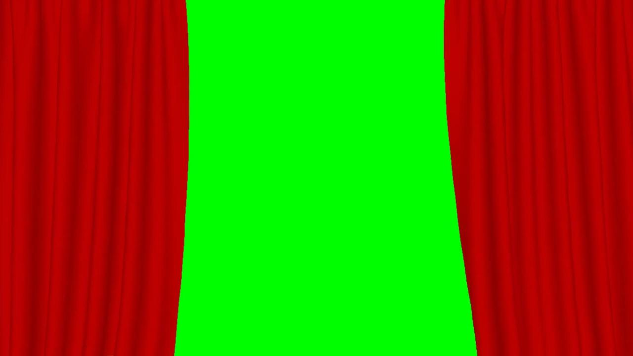 Curtain Green Background Slow Motion Opening