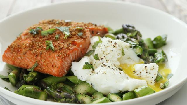How to Make Roast Salmon with Asparagus Salad & Poached Egg