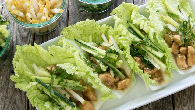 Peanut Chicken Cabbage Wraps Recipe Eatingwell