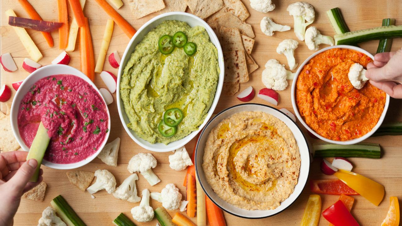 How to Make Rainbow Hummus 4 Ways