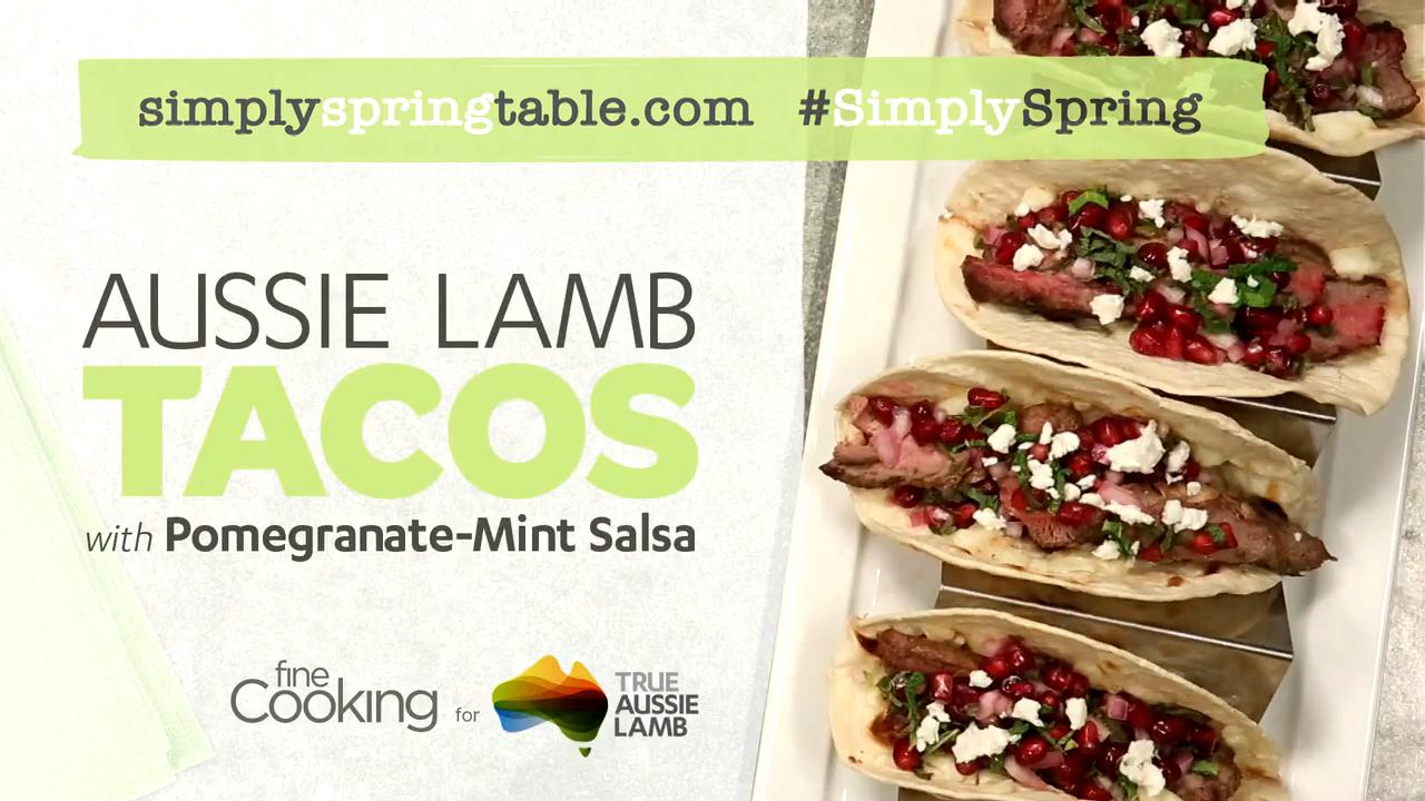 Grilled Australian Lamb Tacos with Pomegranate-Mint Salsa