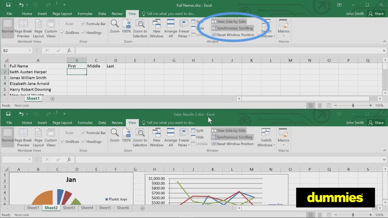 Workbooks sharing an excel workbook : Comparing Excel 2016 Worksheets Side by Side - dummies