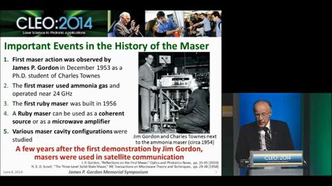 The Impact of the Maser on the Discovery of the Cosmic Background Radiation, James P. Gordon Symposium