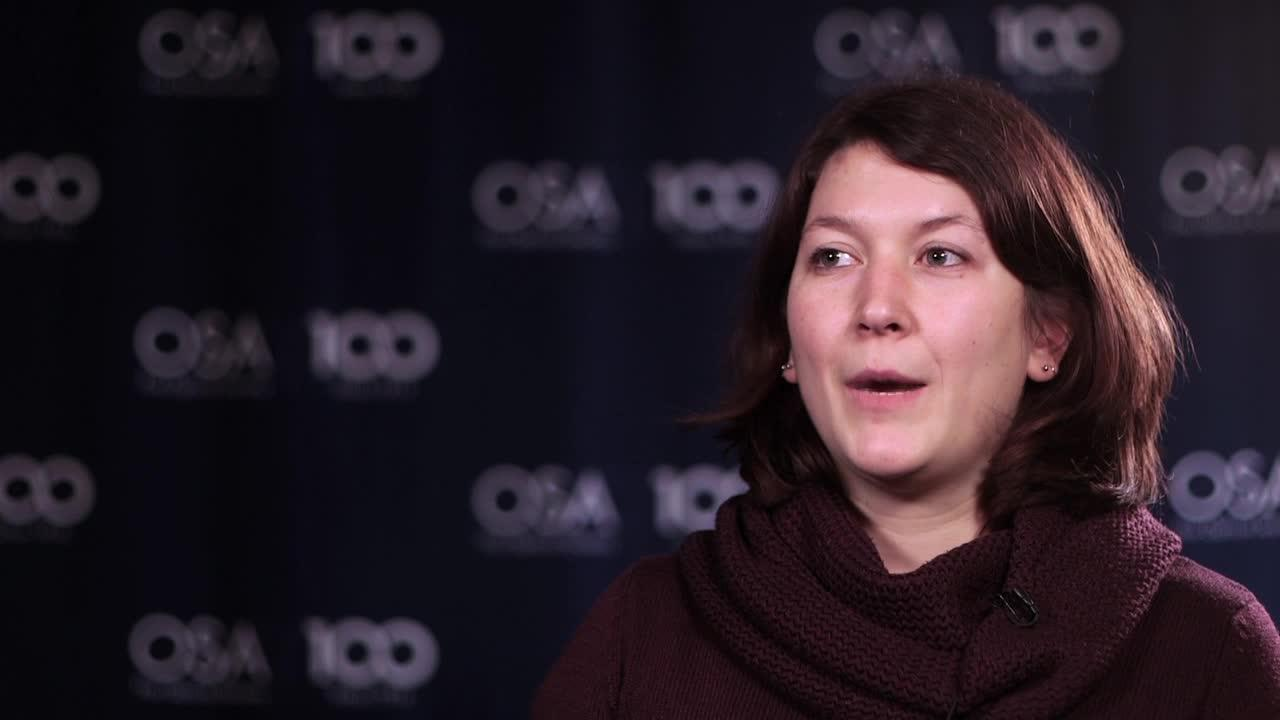 Aline Dinkelaker talks about the work she is doing in microgravity--OSA Stories