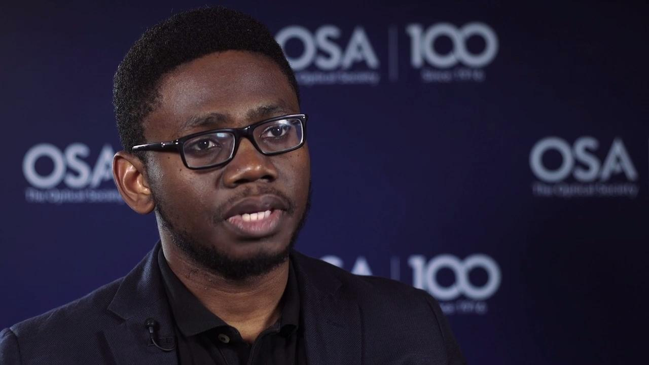 Chukwuemeka Okoro discusses his work in finding a cure for breast cancer--OSA Stories
