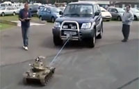 Russian Tank Toy Tows Truck