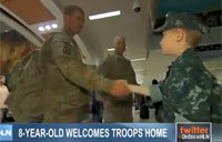 8 Year Old Welcomes Home Troops