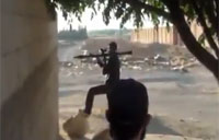 Rebel Firing RPG Almost Hit by Bullet
