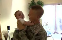 Soldier Meets His Baby for First Time