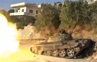 FSA Attacks Syrian Army Building with Tank