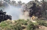 Stryker Armored Vehicle Slams Bunker