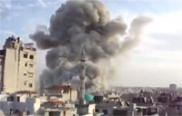 Mig Fighter Air Strike Near Minaret