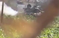 Rebels Blast SAA Tank with RPG