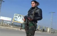 SAA Female Soldiers Guard Checkpoint