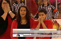Family Surprised at Hockey Game