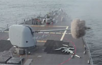 USS Curtis Wilbur Fires Weapons