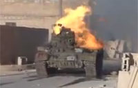 Rebels Destroy SAA Tank with Grenade