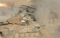 Syrian Army Tanks Attack Rebels