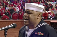 Petty Officer Sings 'God Bless America'