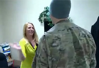 Soldier Surprises Mom, Gets Slapped