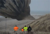 WWII Sea Mine Detonated On Beach