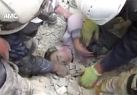Syrian Child Dug out from Rubble