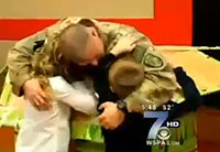 Soldier Surprises Daughter at School