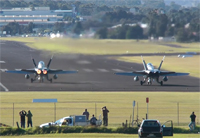 F/A-18 Hornets Cross Wind Take-Off