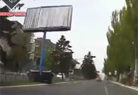 Ukrainian Army APC Destroys Billboard
