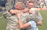 Soldier Reunites with Family at Sporting Park