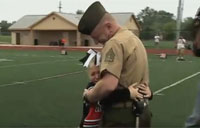 Military Dad Surprises His Tiny Cheerleader