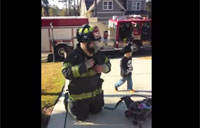 Soldier Surprises Kids Dressed as Fireman