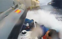 Spanish Navy Rams Greenpeace Boat