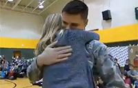 Airman Surprises Little Sister at School Assembly