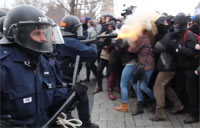 Female Protester Shot in Face with Tear Gas
