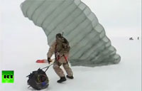 Russian Paratroopers Land on Drifting Ice Block