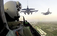 Backseat View of F-16 Flying in Formation