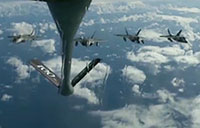 F-22s Fly in Formation After Aerial Refueling