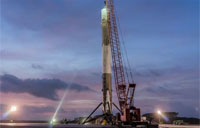 Falcon 9 First-Stage Sunrise Time-lapse
