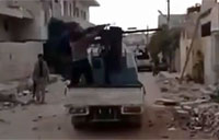 Syrian Rebel Nails Physical Comedy