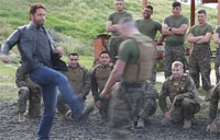 Gerard Butler Demos the Spartan Kick