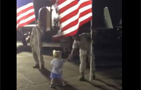 2-year-old Spontaneously Greets Troops